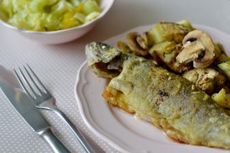 Pečený pstruh s grilovanou zeleninou