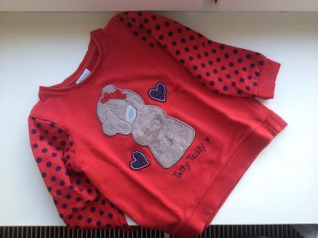 Červená mikča s puntíky tatty teddy, 92
