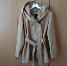Hnědý kabát kabátek bunda s kapucí amisu, amisu,38