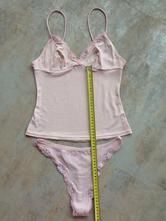 Růžová sexy souprava krajka top kalhotky vel.36, xs