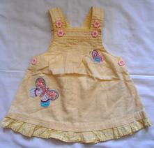 V102. lněné žluté šaty s motýly 0-3 měs., next,62
