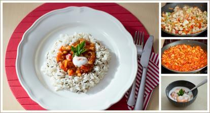 Kuřecí směs s fazolemi, indiánská rýže