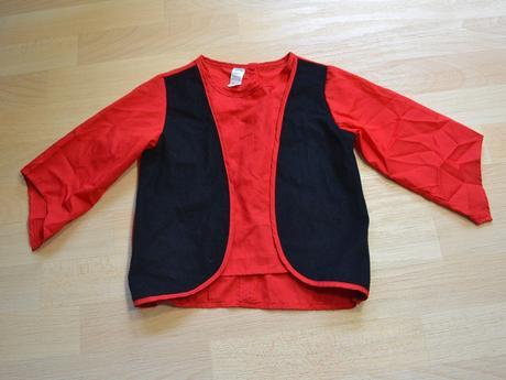 Kabátek červenočerný karnevalový kostým,