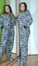 Fleecový overal zebra na spaní i karneval, 40