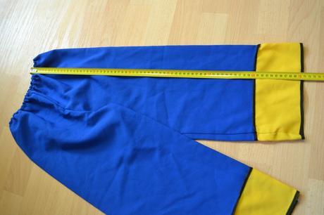 Kalhoty modrožluté, karnevalový kostým,