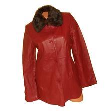 Kožená bunda, kabát, odepínací kožešina vel.s, s