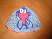 Háčkovaná čepice s opičkou vel. 74-80, 74