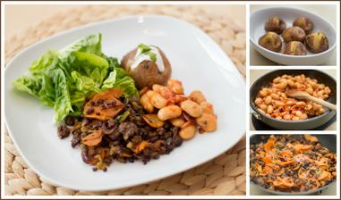 Mleté hovězí, brambory ve slupce, máslové fazole se slaninou, salát s avokádovou zálivkou - Jamie Oliver