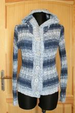 Modrý pletený svetr s kapucí vel s/m, s
