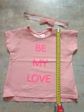 Zara tričko+čelenka 12-18m,86cm třpyt růžová mašle, zara,86