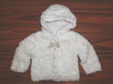 Překrásný bílý chlupatkový kabátek - přechod, baby club,74