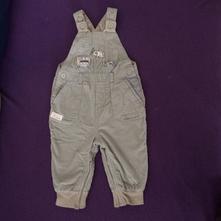 Světlešedé mančestrové zateplené kalhoty na kšandy, next,68