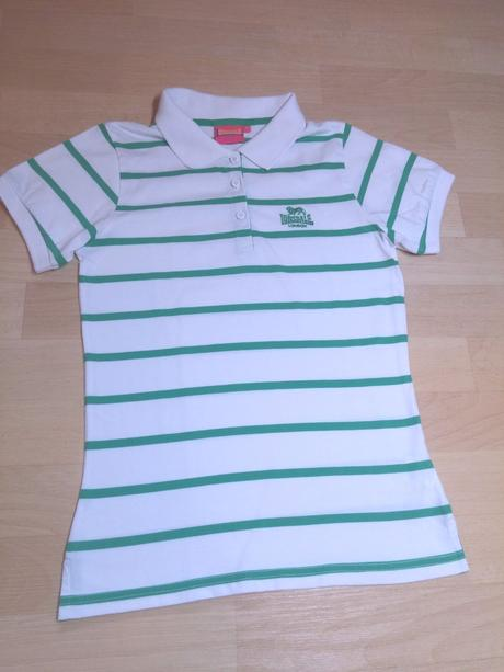 Tričko s límečkem zelené pruhy , lonsdale,s