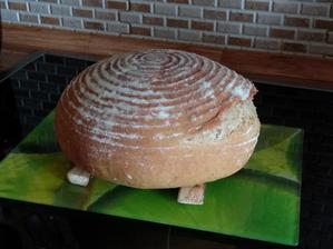 Kombinace režného kvásku a 150g Lievito Madre ( ještě ho nemám zralé, aby utáhlo chlebík ) ...