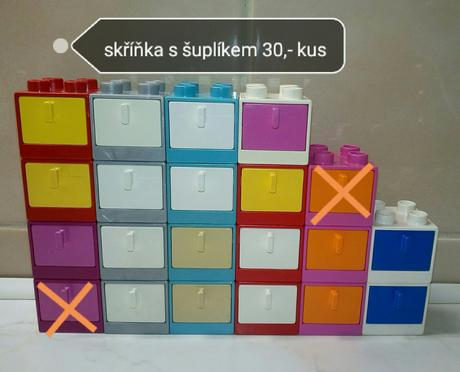 Lego duplo skříňka, stolek, stoleček cena kus 30,-,