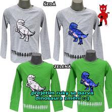 Bavlněné triko s měnící obrázkem dinosaura, 98 / 104