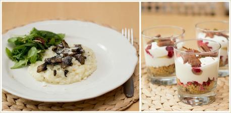 Risotto s houbami, špenátový salát, rychlý citronový cheesecake s malinami - Jamie Oliver