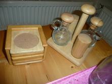 Tescoma souprava sůl pepř olej ocet podložky dřevo,