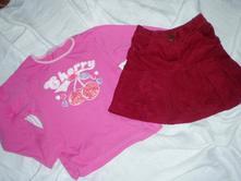 Skládaná sukýnka a krásné tričko s třešínkama, cherokee,104
