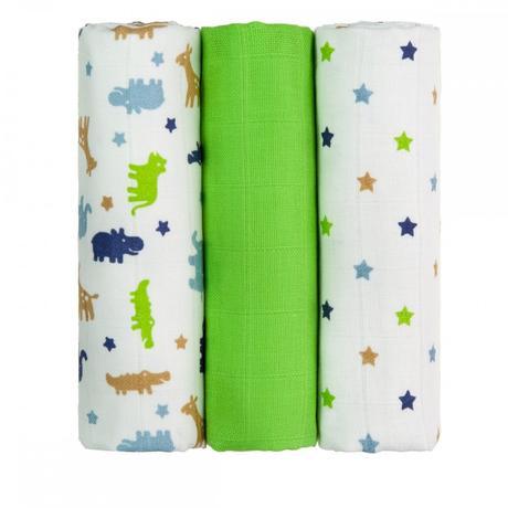Bavlna plena zelení krokodýli 3 ks,