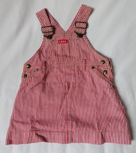 Pruhovaná riflová sukně s laclem, h&m,68