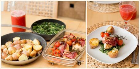 Kuře, mačkané brambory, smetanový špenát, jahodová tříšť