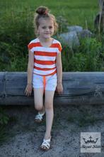 Oranžovo-bílé pruhované tričko, 92 - 158