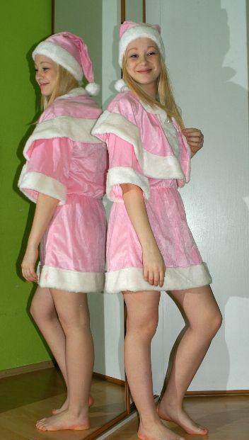 Vánoční růžový komplet šaty, čepice a pelerína, 36