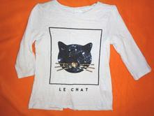 Krásné bílé tričko s flitrovou kočičkou, f&f,134