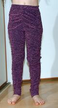 Nabírané lesklé fialové pružné kalhoty, zara,140