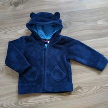 Mikina s oušky a kapsičkami - medvídkový fleece, lupilu,86