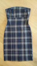 Teplejší modro-zelené kostkované šaty bez ramínek, orsay,34