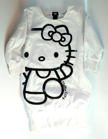 P44 - bílá mikino tunika s hello kitty, h&m,134