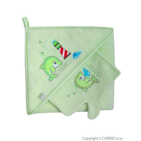 Dětská osuška s žínkou delfín - zelená,