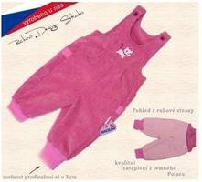 Dětské zateplené kalhoty s laclem, růžové, rockino,74 / 80 / 86 / 92