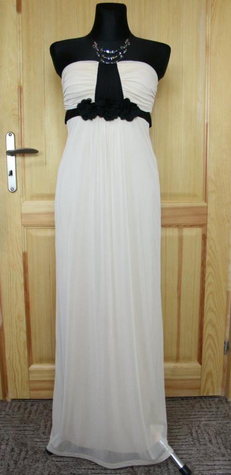 Béžové společenské dlouhé šaty jane norman vel 38, 38