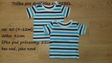 Bavlněné trička pro dvojčátka zn. rebel, 80