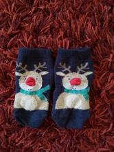 Vánoční ponožky se sobem - 0-6 měsíců.,