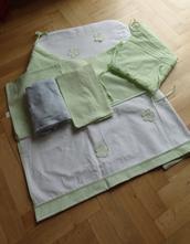 Sada povlečení do postýlky - zelená kostička, 90,130