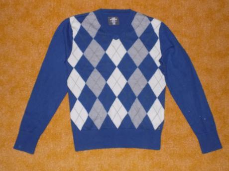 Modrý káro svetr h&m vel.140, h&m,140