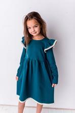 Šaty smaragdově zelené krajkový rukáv, 92 - 140