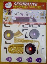 Nástěnná samolepící dekorace -  hudební nástroje,