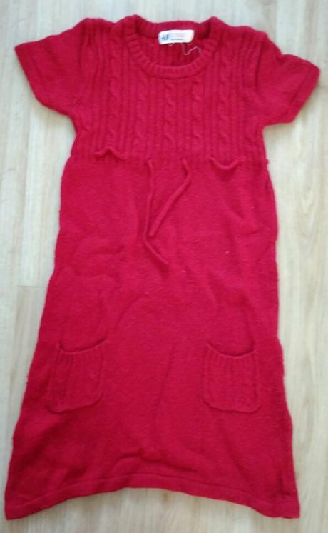 E229 - červené pletené šaty, h&m,110
