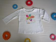 Bílé tričko s kytičkou, 80