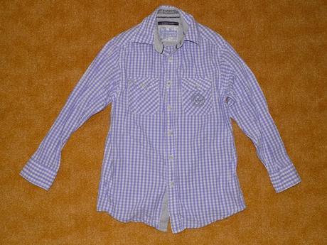 Fialovobílá káro košile vel.140, c&a,140