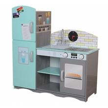 Dřevěná kuchyňka eco toys - mátová/šedá + dárek,