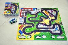 Pěnové puzzle závodní dráha 32x32cm 9ks v sáčku,