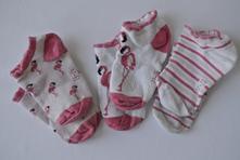 Tři páry nízkých letních ponožek s plameňáky, lupilu,26
