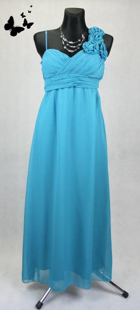 cf3d06f0776 Dlouhé modré společenské šaty na jedno rameno