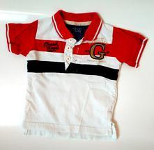 M302-bílo červené tričko s límečkem, minoti,80